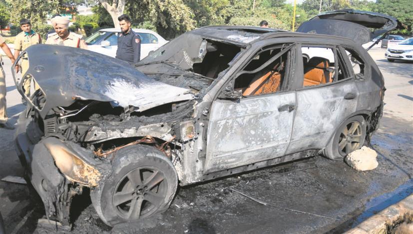 BMW car catches fire in Chandigarh