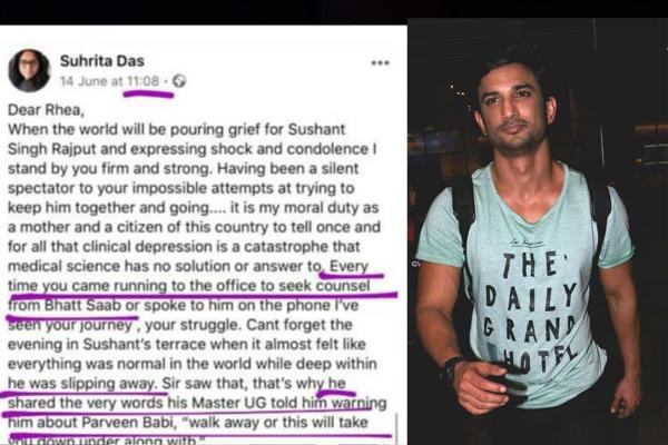 Viral Facebook post claims Rhea Chakraborty sought help from Mahesh Bhatt for 'clinically depressed' Sushant Singh Rajput; have a look