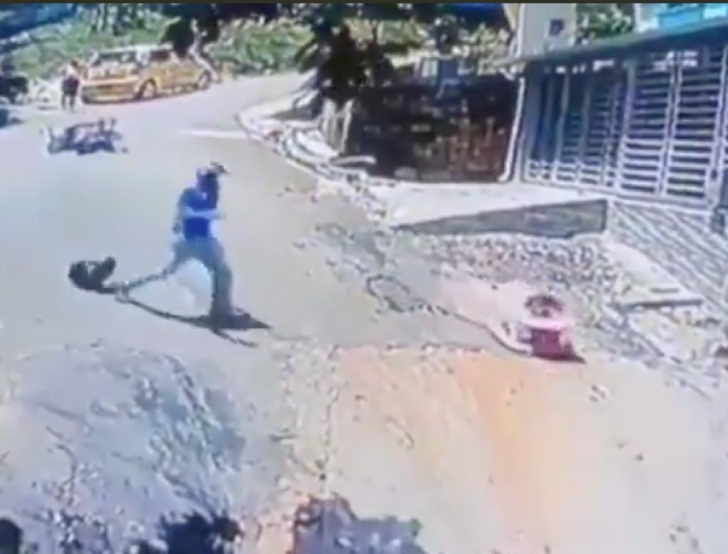 Man jumps off motorcycle, saves toddler rolling down hill; incident goes viral