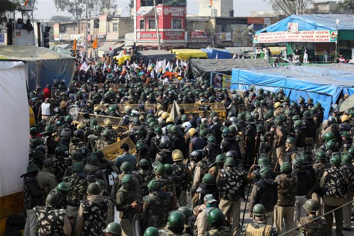 Situation under control after clash at Singhu; number of protesters swells
