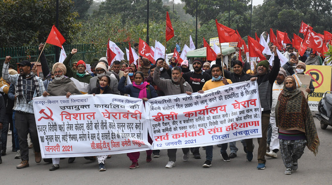 CITU, employees' union protest