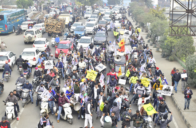 AAP conducts motorcycle rally to support farmers