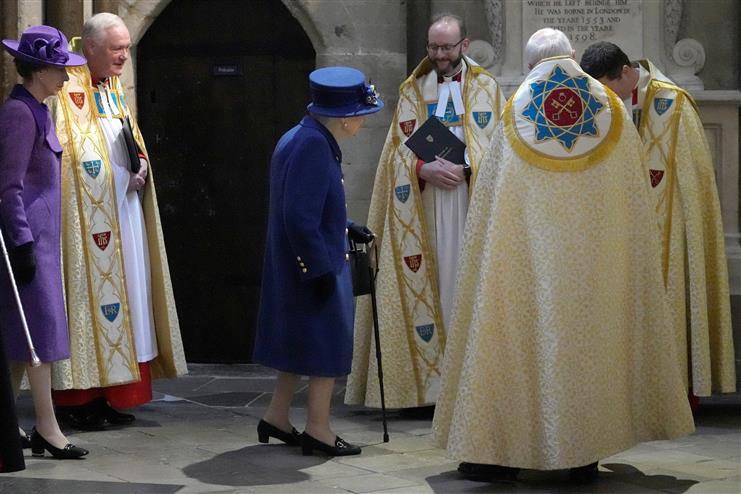 UK's Queen Elizabeth seen using walking stick at public event