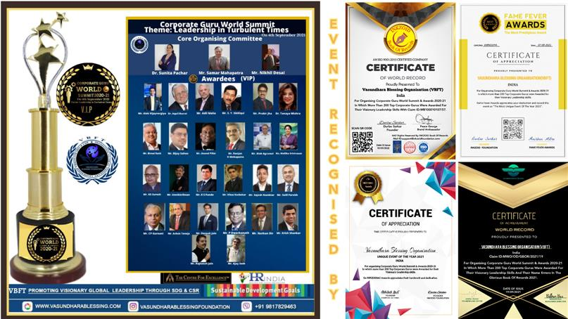 Vasundhara Blessing Foundation(VBFT) Awarded Visionary Corporate Gurus in World Summit For Their Leadership In Turbulent Times.