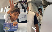 Watch this little girl's excitement as she realises her pilot father will fly the plane she is taking