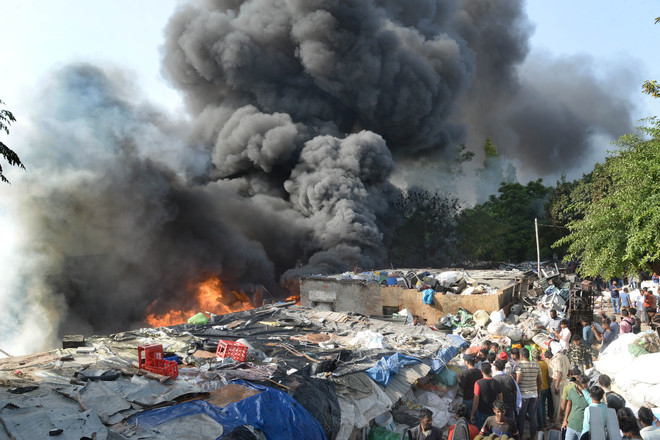 Jalandhar: Fire at illegal scrap godown reduces shanties into ashes