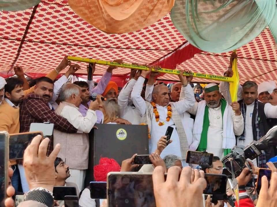 Farmer leaders at Jind khap mahapanchayat adopt 5 resolutions