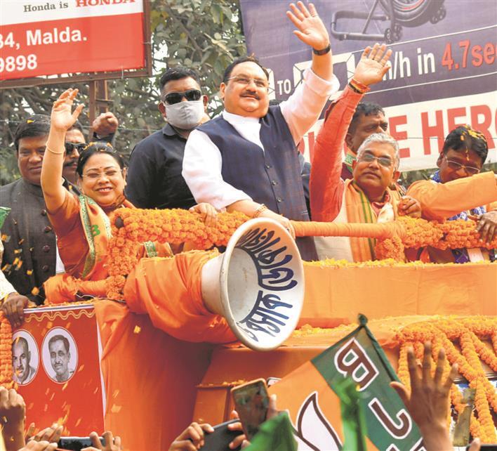 JP Nadda flags off 'Parivartan Yatra' sans police nod, slams Mamata Banerjee
