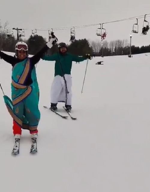 Desi couple goes skiing wearing dhoti and sari in US; video leaves internet 'impressed'