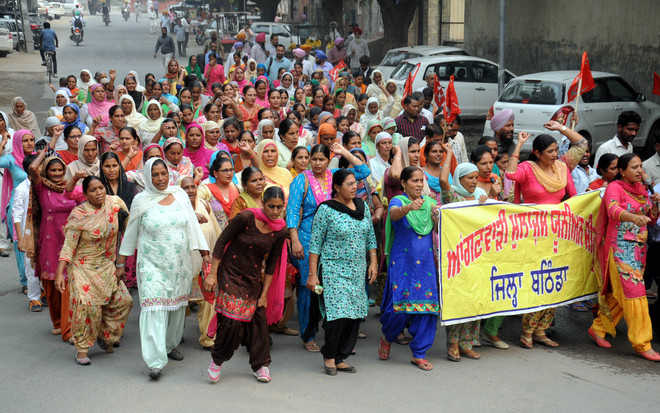 Protest call by anganwadi workers