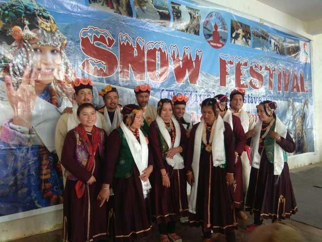 Traditional yatra at snow fest at Shashur