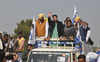 At Bathinda roadshow, AAP attacks Badals for 'backstabbing' people