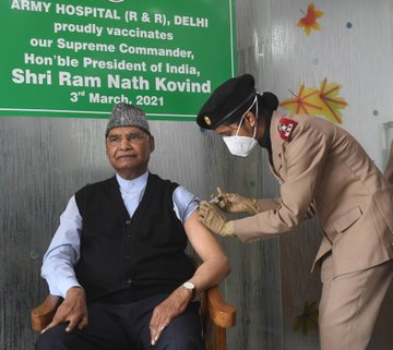 President Kovind receives first dose of COVID vaccine