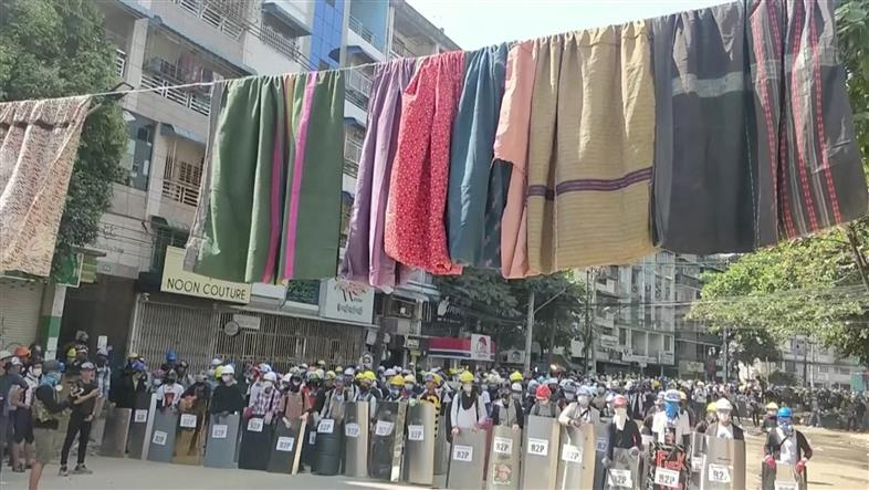 Myanmar protesters string up women's clothes for protection