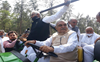 Hooda rides tractor outside Haryana Assembly to protest against fuel prices