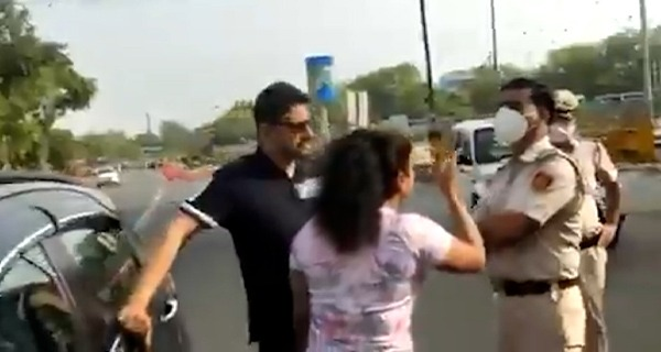 Video: Delhi couple, stopped for not wearing mask, misbehave with cops