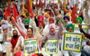 Farmer unions protest outside FCI offices in Bathinda and Mansa