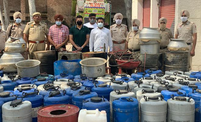 Major haul: 390-litre illicit liquor seized, 5 held