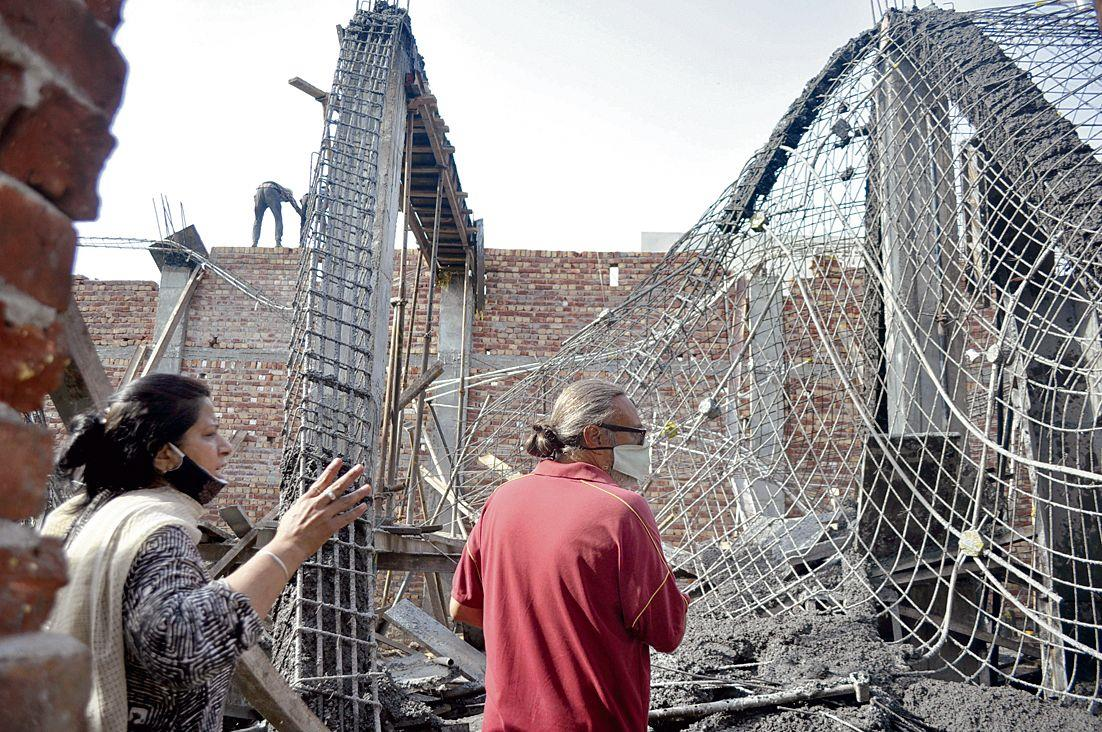 Illegal under-construction building collapses, 6 hurt