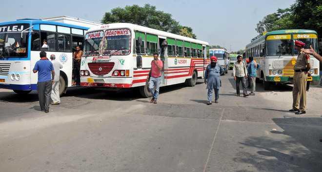 Punjab Roadways and PRTC staff seek regular jobs, protest