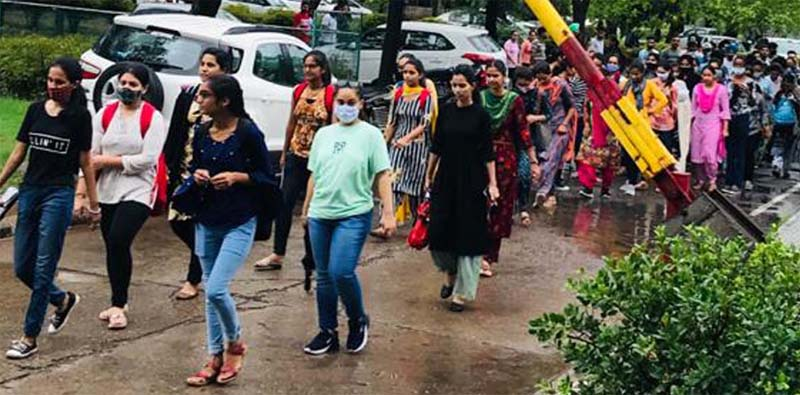 Punjabi University, college students demand online exams, hold protest