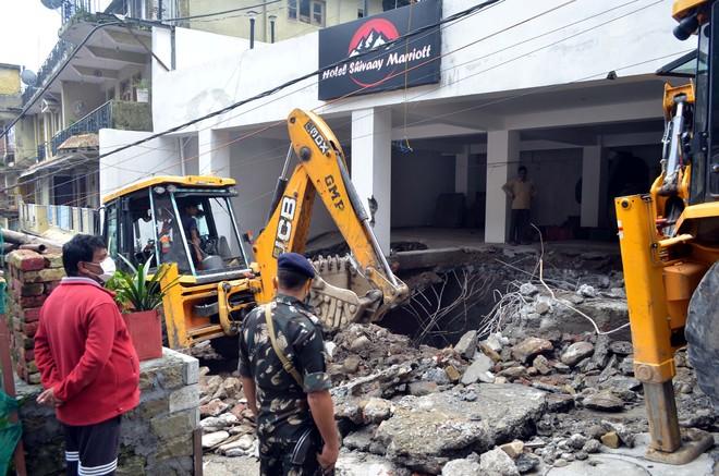 Illegal structures razed in upper Dharamsala