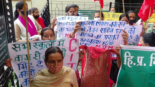 Himachal Pradesh Mid-day Meal Workers Union protest, demand pay hike