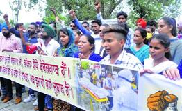 Frontline workers hold protest march from Gurdwara Dukhniwaran Sahib to the Fountain Chowk in Patiala