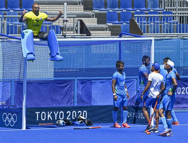 Goalkeeper Sreejesh sits on top of goalpost to celebrate Olympic win as teammates cry and hug each other, pic viral