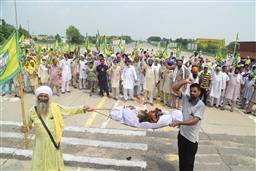 Farmers in Punjab block roads, burn effigies over lathicharge on Haryana peasants