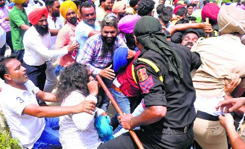 Unemployed youth clash with police