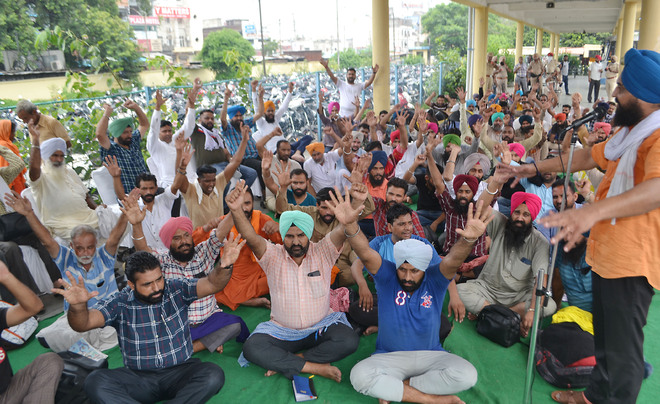 Punbus contractual workers hold protest over demands in Jalandhar