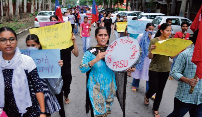 Punjabi University students protest, demand online exams