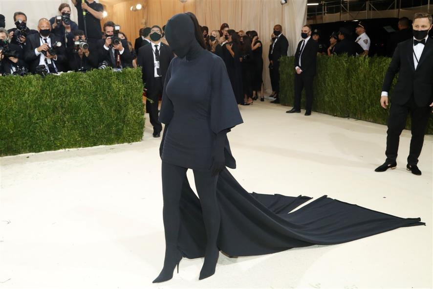 Kim Kardashian's black faceless full-body suit has a Kanye West connect