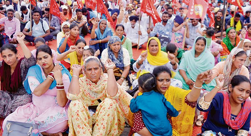 Contractual employees protest outside Patiala District Administrative Complex