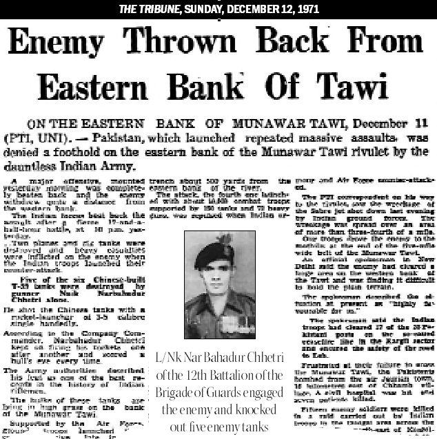 Remembering the exploits of BSF's Assistant Commandant Ram Krishna Wadhwa and Lance Naik Nar Bahadur Chhetri