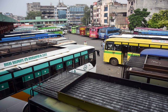 Ludhiana: Bus service hit as contractual staff of PRTC, PUNBUS go on indefinite strike