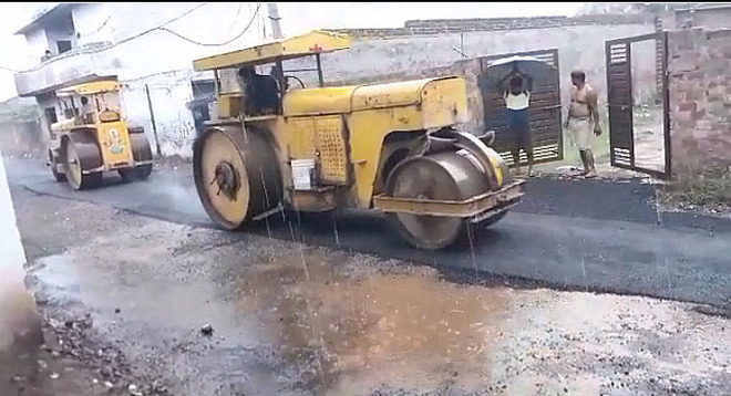 Gadaipur road work stopped amid downpour after uproar