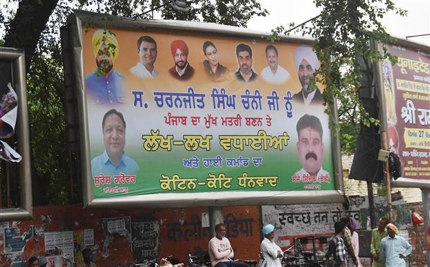 Ex-CM Capt Amarinder Singh's photos off Bathinda hoardings