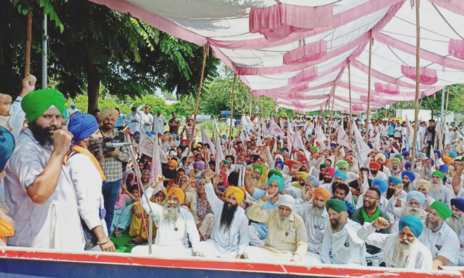 Farmers hold sit-in outside MLA Navtej Singh Cheema's residence
