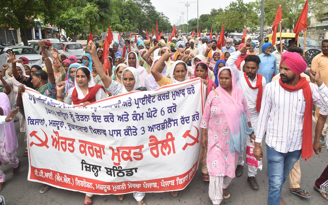 Women demand debt waiver; take out protest march in Bathinda