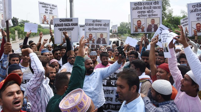 Muslim community protests  'encroachment' on cemetery at Baddowal