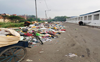 Waste yet to be removed from road near cremation ground in Shivpuri